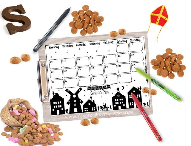 Gratis Sinterklaas aftelkalender, aftelkalender sinterklaas, schoen zet kalender