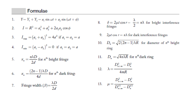 Newton's rings formula