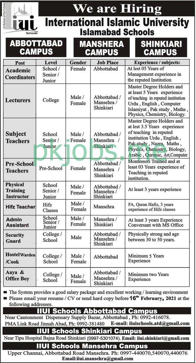 Latest International Islamic University Islamabad Schools Posts 2021