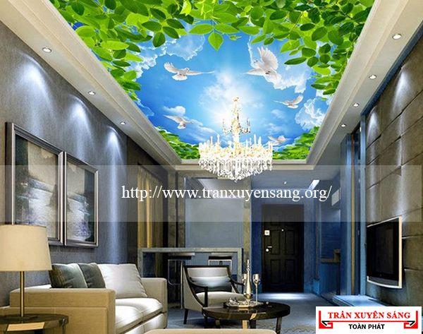 Mẫu trần phòng khách in bầu trời 2