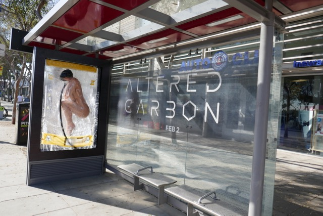 Altered Carbon 3D bus shelter ad installation