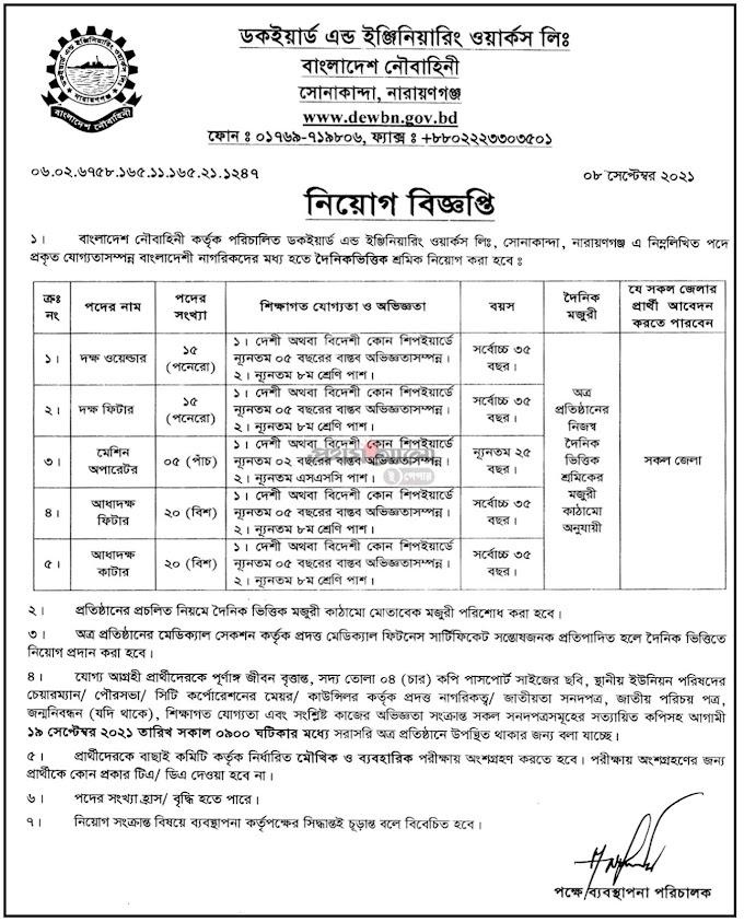 Bangladesh Navy Civilian Job Circular 2021