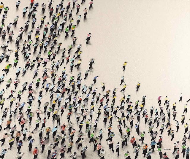 Juan Genovés art, a running crowd from above