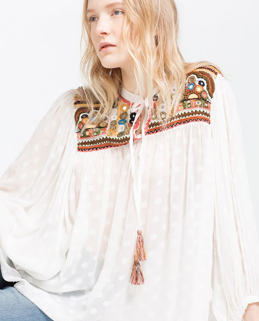 zara peasant blouse, embroidered peasant blouse,