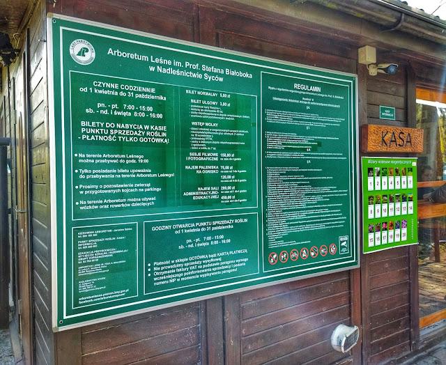ceny wejścia do Arboretum, godziny otwarcia