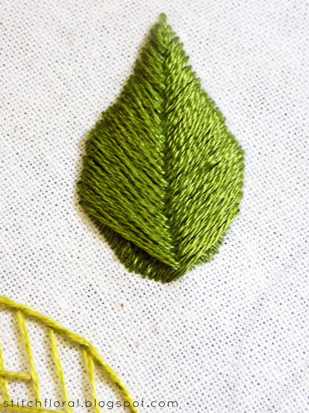 Open and raised fishbone stitches and leaf stitch   Stitch Floral
