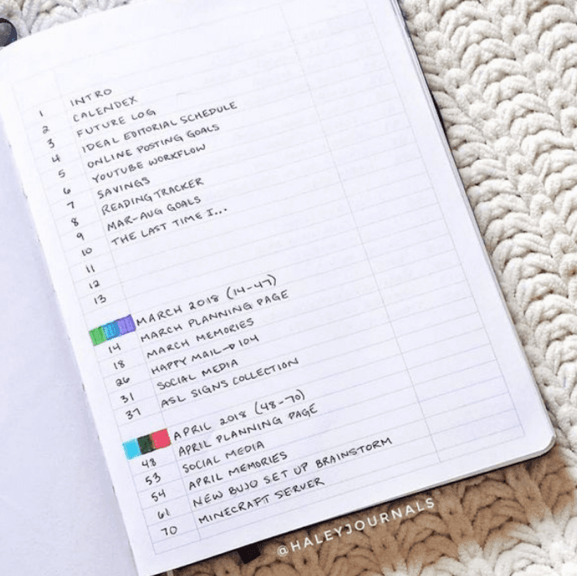 Contoh Bullet Journal Index 3