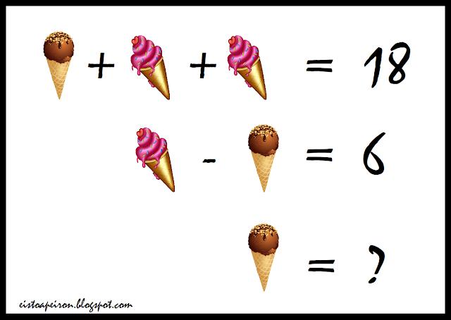 Ένα σοκαλατένιο παγωτό και δύο παγωτά φράουλα ίσον δεκαοχτώ. Ένα παγωτό φράουλα μείον ένα σοκολατένιο παγωτό ίσον έξι. Σοκολατένιο παγωτό ίσον ερωτηματικό.