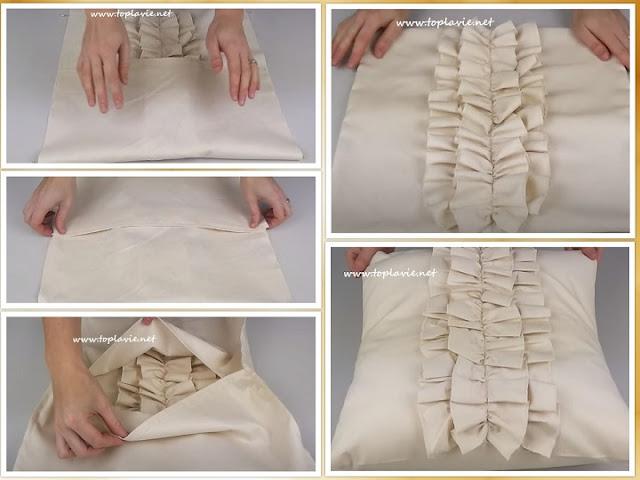 خطوات خياطة وسادة الكشكشة - sewing Pillow Ruffles