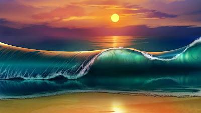 Fantasy Sea Beach Sunset Landscape Screen Background