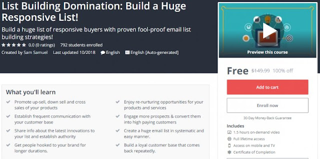 [100% Off] List Building Domination: Build a Huge Responsive List!| Worth 149,99$
