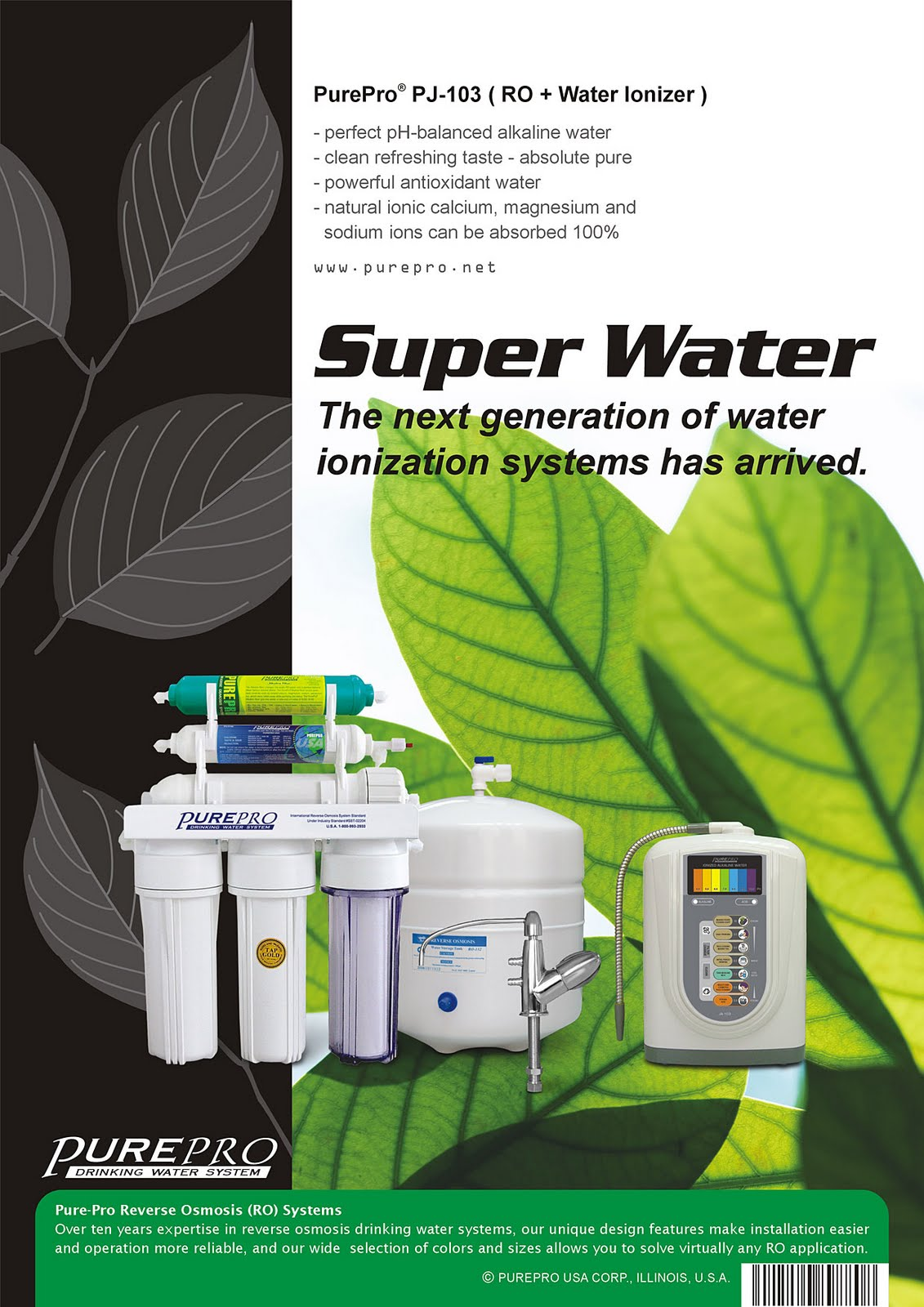 PurePro Perfect Water PJ-103 Reverse Osmosis + Water Ionizer Water Filtration System