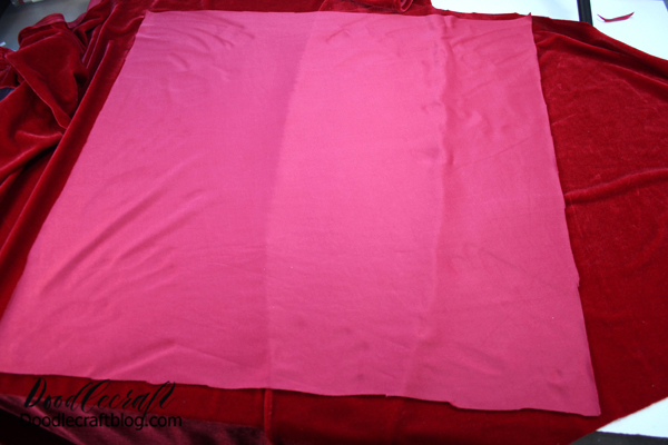 """Step 3: Right Sides Together Then place the 20 inch square of velvet right on top of the overlapped layer, with the soft """"right"""" side of the velvet touching."""