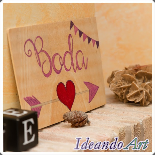 Cartel boda handmade