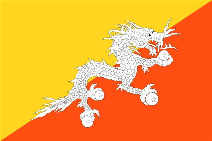 Bayrağında sarı olan ülkeler Butan bayrağı