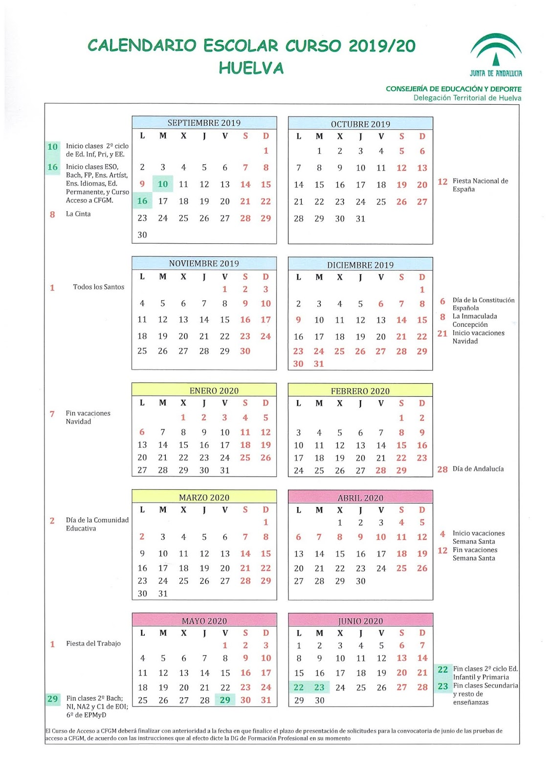 Calendario Escolar Andalucia 2020.Calendario Escolar Curso 2019 20 C E I P Sanchez Arjona