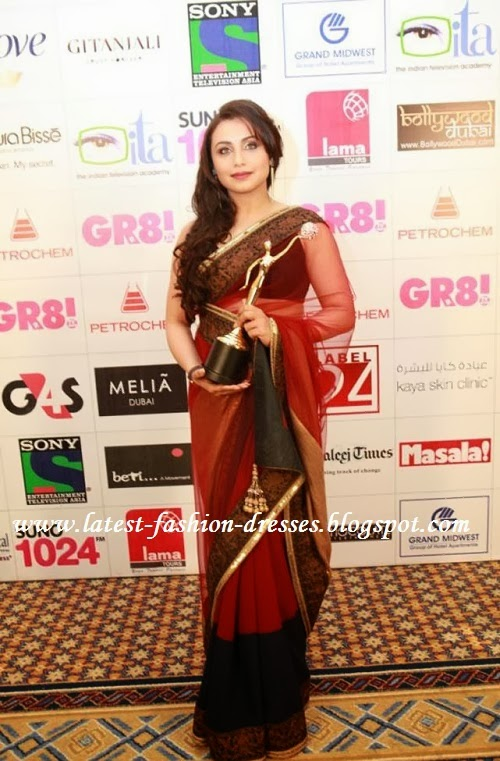 Bollywood actress rani in red colour saree