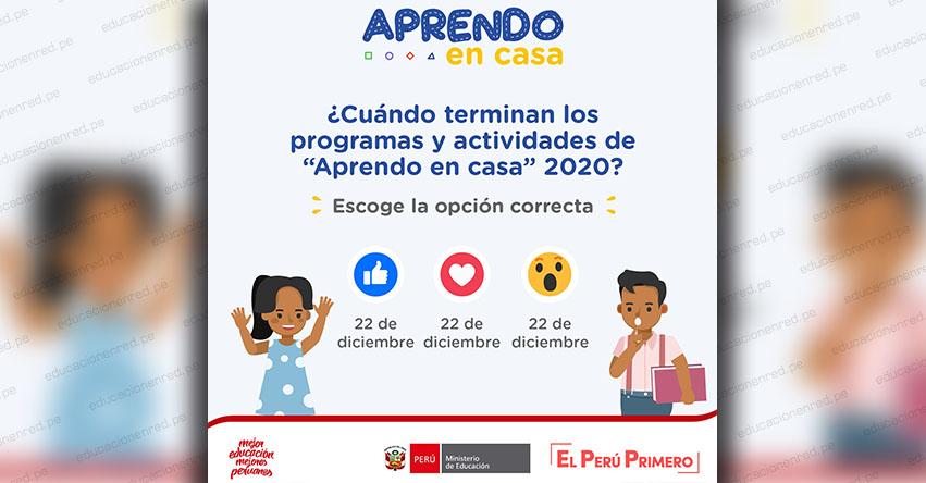 MINEDU: Fin de clases escolares es el 22 de diciembre de 2020, informó el Ministerio de Educación