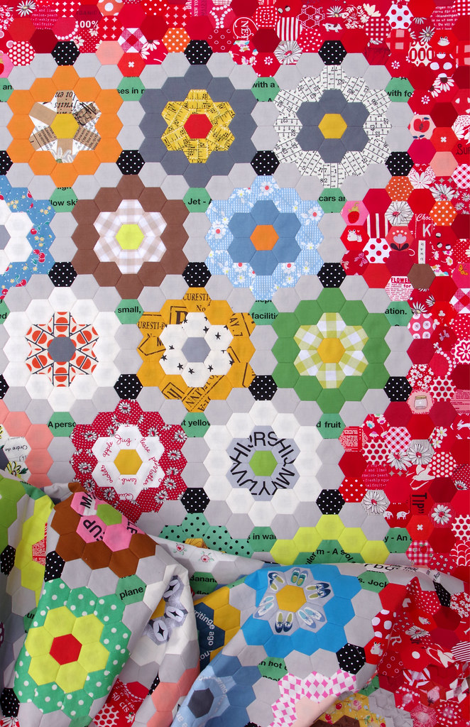 My Pandemic Quilt - Grandmother's Flower Garden Quilt © Red Pepper Quilts 2020