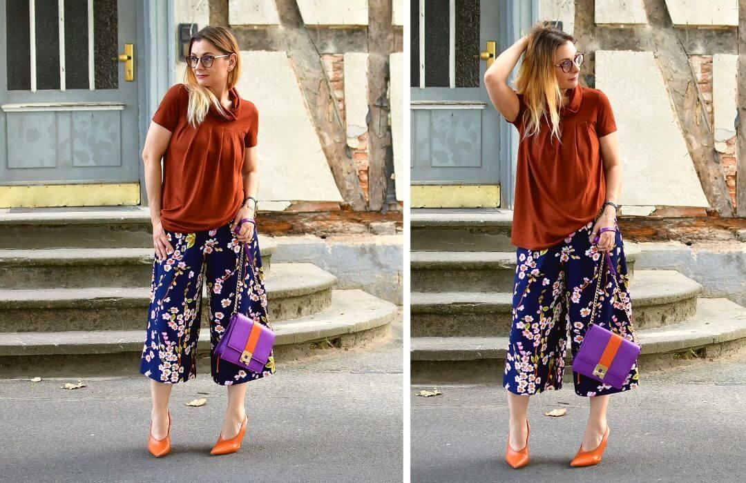 Culotte-Sommer-Kombinieren-Blumemuster-Hose