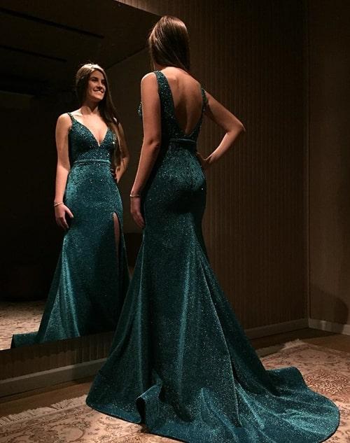 vestido de festa longo verde esmeralda com brilho