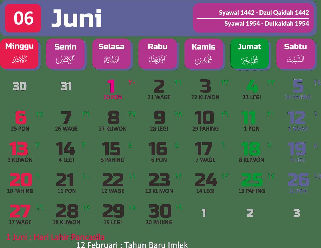 Kalender 2021 Bulan Juni Lengkap-lengkip