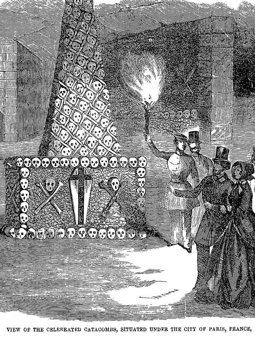 Paris catacombs tour 1851 illustration
