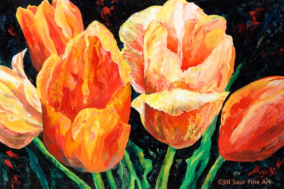 tulips on canvas