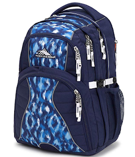 A picture of a navy High Sierra Swerve backpack, which can last many years before it must be thrown away