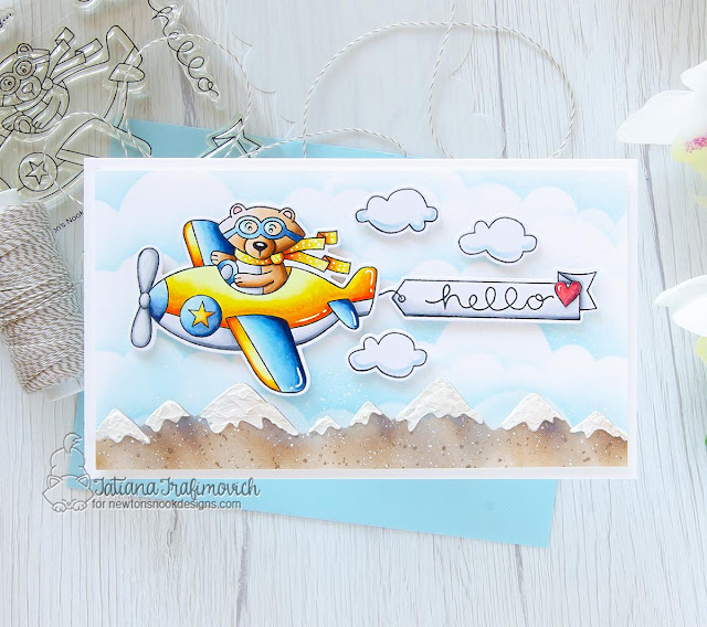 Bear in airplane card by Tatiana Trafimovich | Winston Takes Flight Stamp Set, Mountains Stencil and Clouds Stencil by Newton's Nook Designs #newtonsnoo