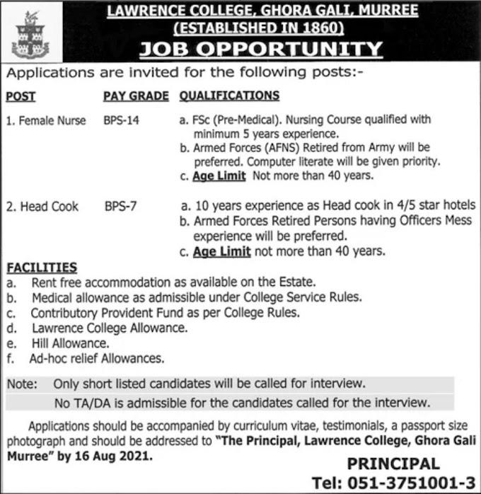 JOBS | Lawrence College,Ghora Gali,Murree