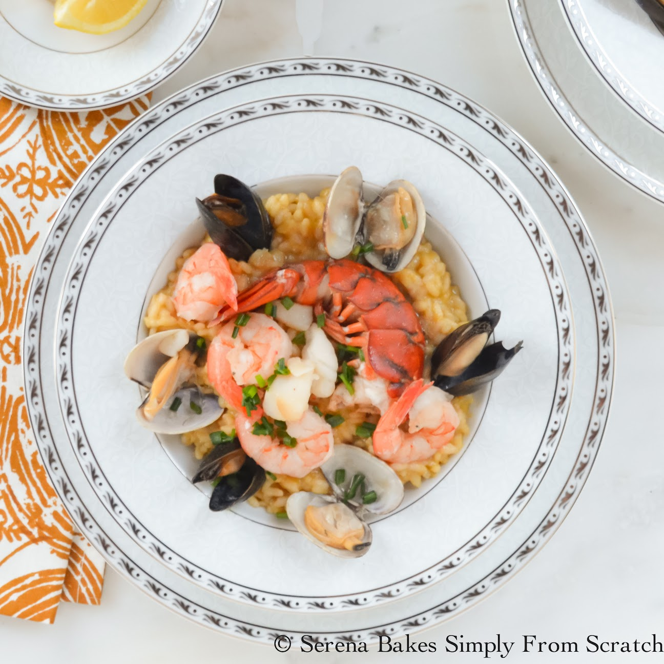 Seafood Risotto is perfect for a date night in or a romantic dinner for Valentines Day.