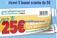 Logo Fai la spesa da Conad o Parafarmacia Conad : ricevi 5 buoni da 5€ cumulabili (25€ in buoni spesa)