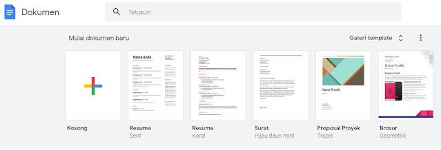 pada tampilan mulai dokumen baru, pilih resume