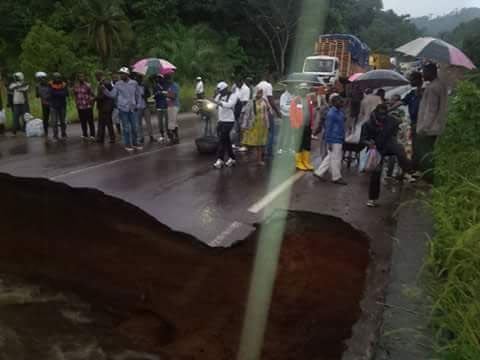 Commuters stranded as Yaounde-Douala Road divides in Cameroon
