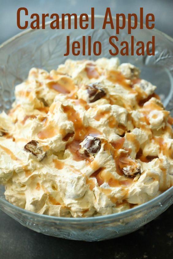 Caramel Apple Jello Salad | Lilly Mordaunt | Creative Vegetarian Recipes
