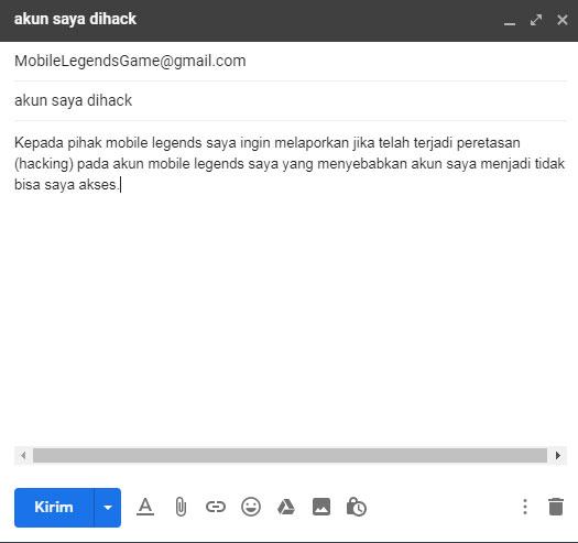 Cara menghubungi cs mobile legends melalui email