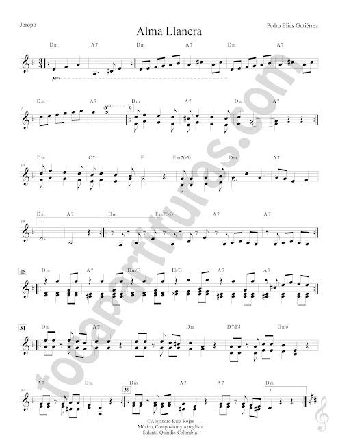 Alma Llanera Joropo de Pedro Elías Gutiérrez Partitura Fácil con Acordes Alma Llanera Sheet Music with Chords partitura 1