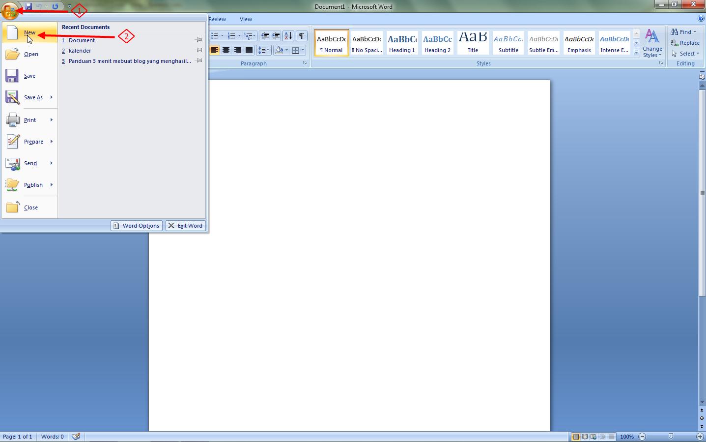 Membuat Dokumen Baru Pada Microsoft Word 2007