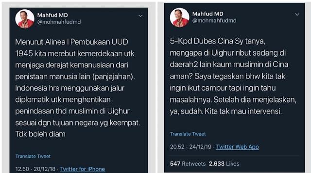 Setelah Gabung ke Jokowi, Mahfud MD Bela China padahal Pernah Bela Muslim Uighur