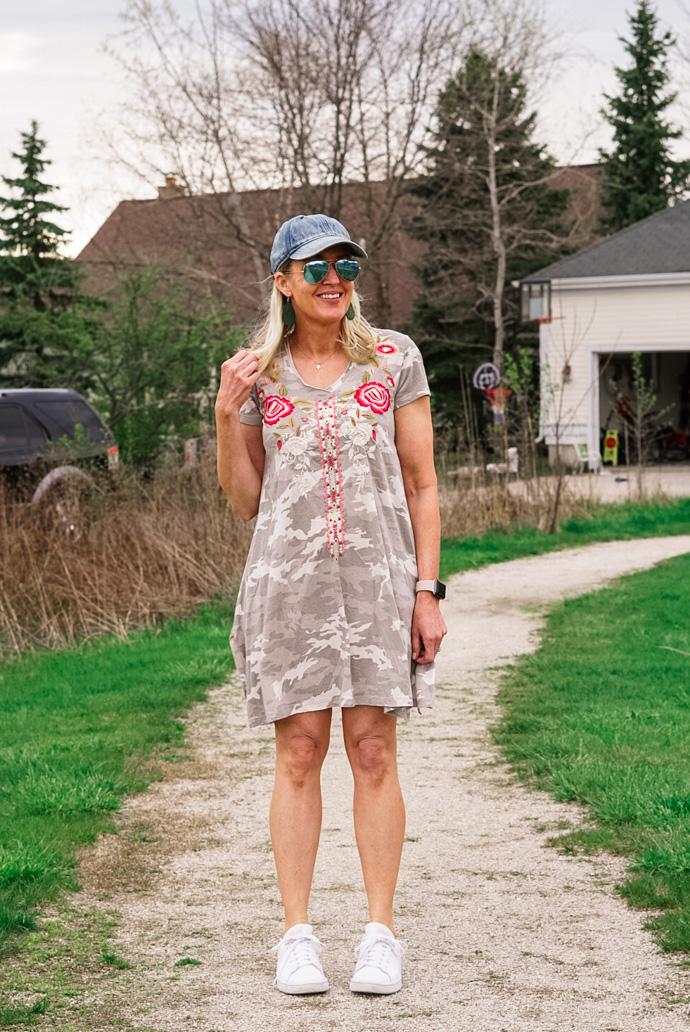 camo print tee-shirt dress