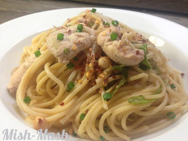Спагети с пиле и фъстъци