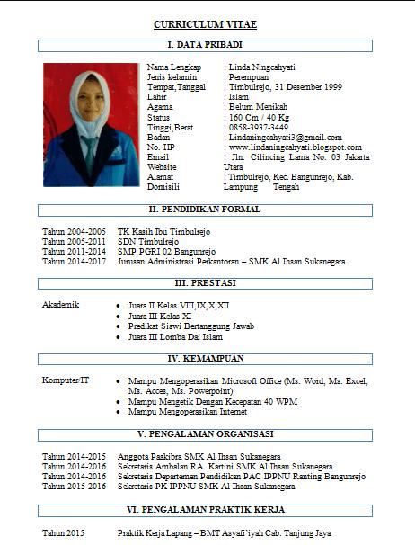 Contoh CV Sekretaris