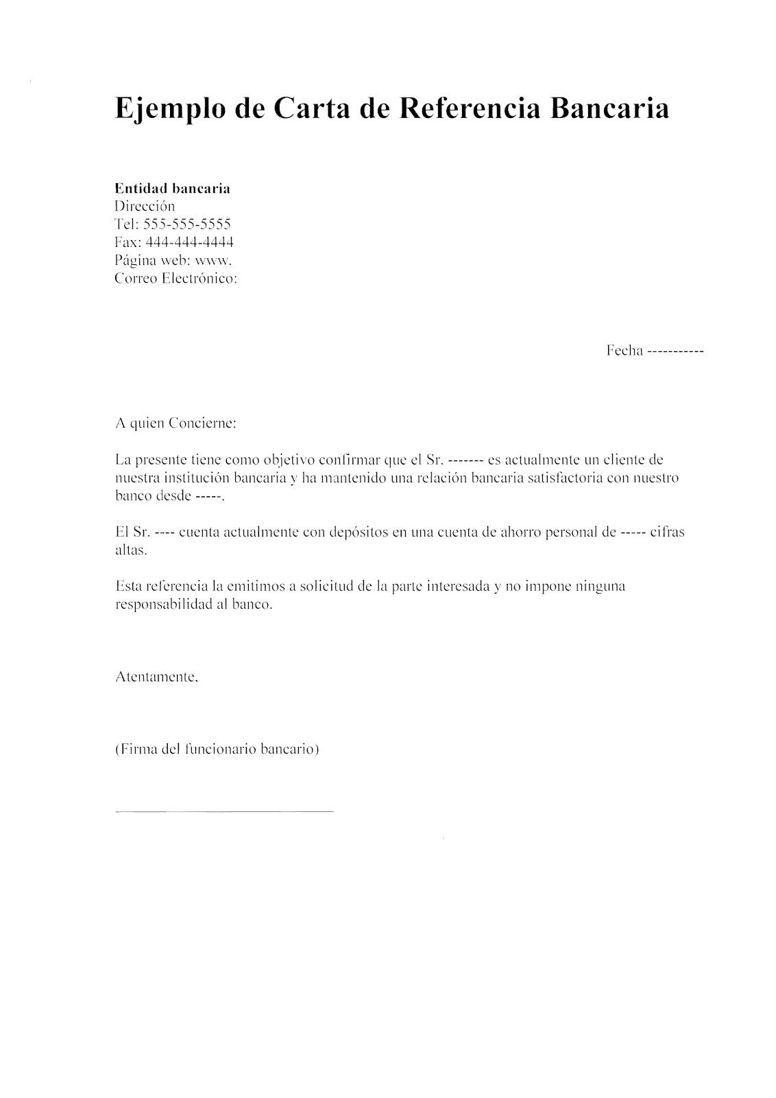 modelo de carta de referencia personal