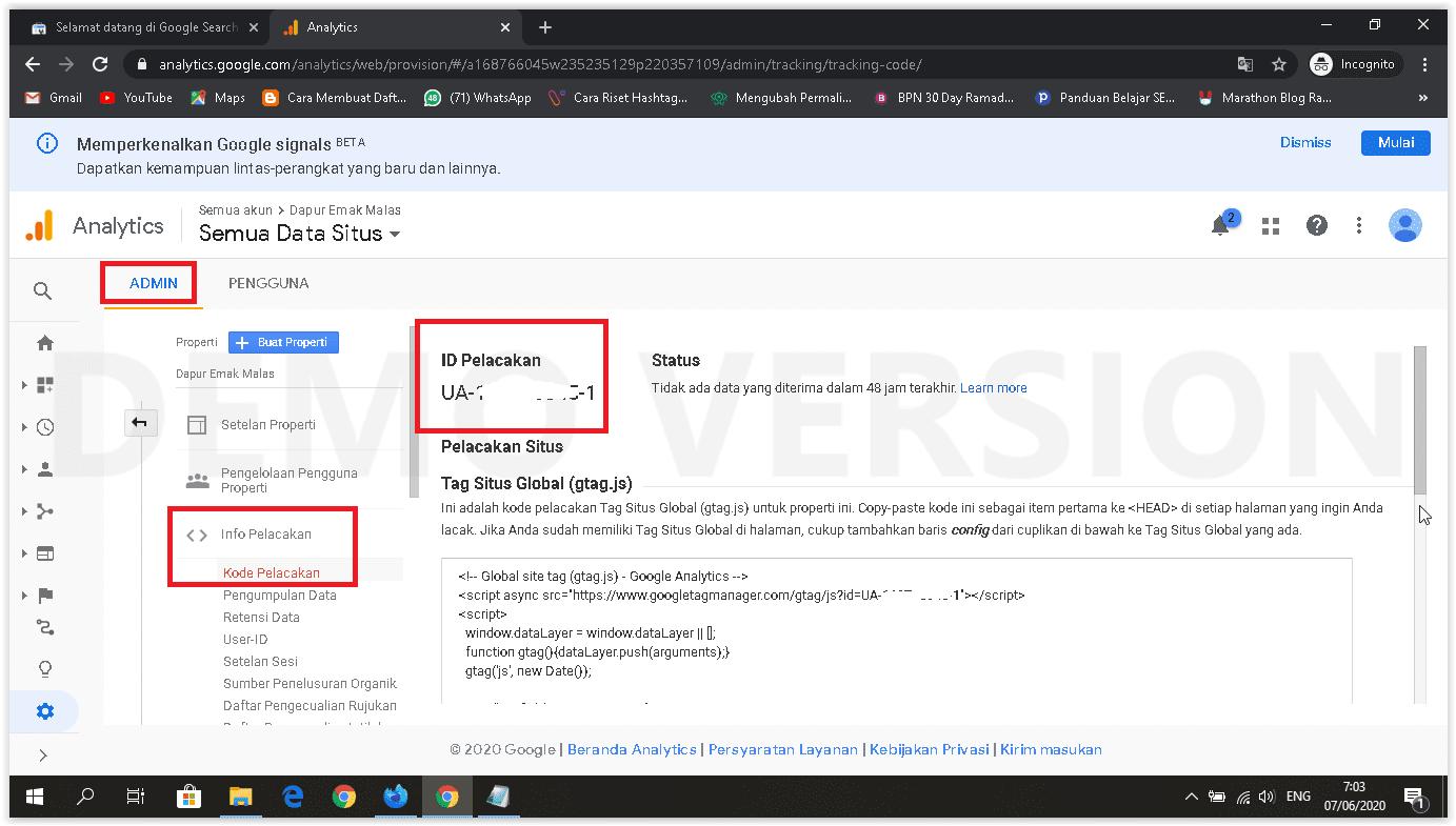 cara memasang google analytics kode pelacakan