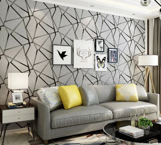modern geometric wallpapers for living room decoration