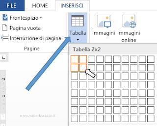 Word: inserisci tabella