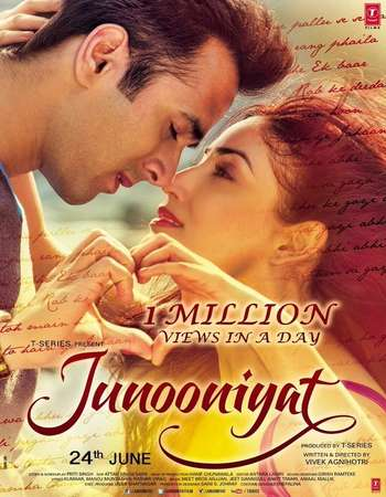 Poster Of Junooniyat 2016 Hindi 400MB DVDRip 720p ESubs HEVC Watch Online Free Download Worldfree4u