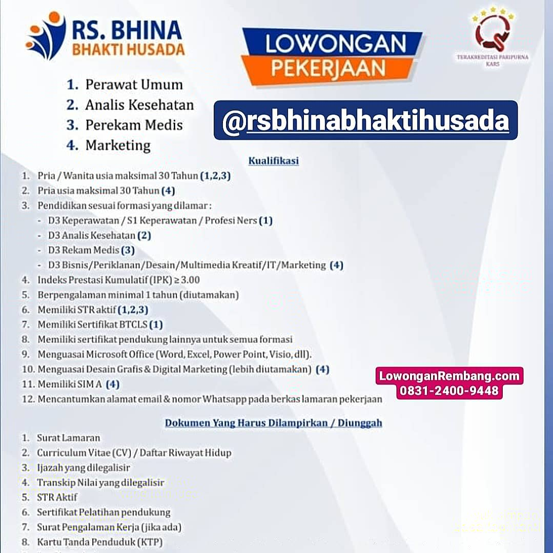 4 Lowongan Kerja Rumah Sakit Bhina Bhakti Husada Rembang