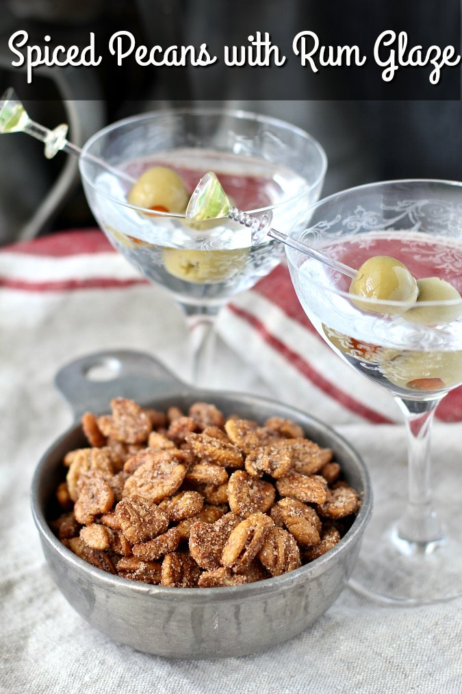 Spiced Pecans with a Rum Glaze with martinis